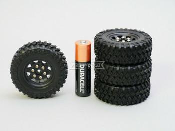 1/24 Micro Off-road WHEELS TIRES Set 47mm Assembled (4pcs) BLACK