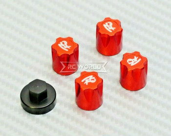 Rc Center Lock Nut METAL WHEEL CAPS M4 Lug Nut W/ Tool (4PCS) RED