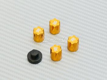 Rc Center Lock Nut METAL WHEEL CAPS M4 Lug Nut W/ Tool (4PCS) GOLD