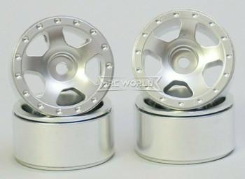For Axial SCX24 1/24 METAL WHEELS RIMS Beadlock Aluminum 27mm (4) pcs SILVER