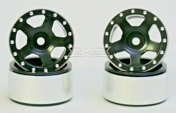 For Axial SCX24 1/24 METAL WHEELS RIMS Beadlock Aluminum 27mm (4) pcs BLACK