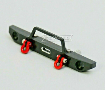 For Axial SCX24 1/24 Metal FRONT BUMPER Bullnose w/ Shackles BLACK