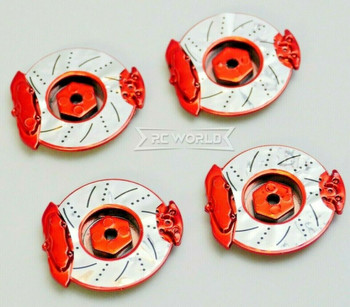 1/10 SCALE DISK ROTORS Scale Accessories (4) Pcs Set - RED -