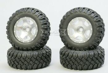 For Axial SCX24 WHEELS TIRES Set 45mm Aluminum Rims + Tires (4pcs) SILVER