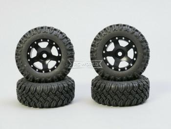 For Axial SCX24 WHEELS TIRES Set 45mm Aluminum Rims + Tires (4pcs) BLACK