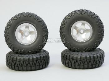 For Axial SCX24 WHEELS TIRES Set 52mm Aluminum Rims + Tires (4pcs) SILVER