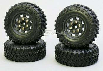 For SCX24 Micro Off-road WHEELS TIRES Set 47mm Assembled (4pcs) BLACK