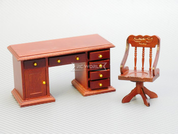 RC 1/12 Scale Accessories WOOD DESK + CHAIR