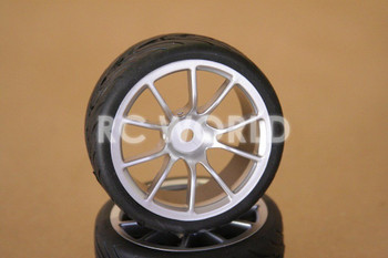 RC 1/10 CAR TIRES WHEELS RIMS SEMI- SLICKS KYOSHO TAMIYA HPI SILVER #1