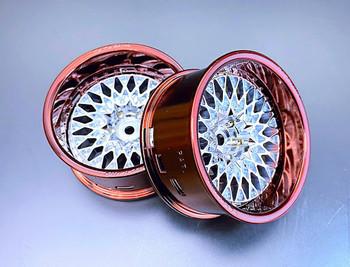 Tetsujin RC Car Wheels LIPS  Adjustable Offset  - Chrome BROWN Lip- (4 pcs ) TT-8015