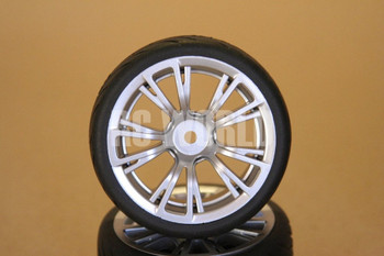 1/10 RC Car Wheels Package SILVER 10 Spoke  (4pcs)