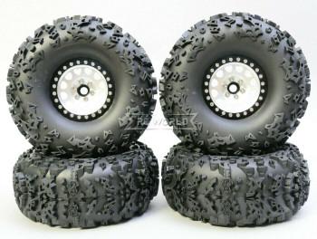 1/10 Truck Wheels 2.2  Aluminum RIMS V2 Beadlock  W/ 140mm TIRES Silver/Black
