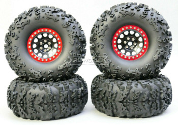 1/10 Truck Wheels 2.2  Aluminum RIMS V2 Beadlock  W/ 140mm TIRES Black/Red