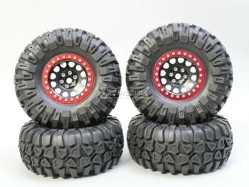 1/10 Truck Wheels 2.2 Aluminum RIMS V2 Beadlock W/ 130mm TIRES Black/Red