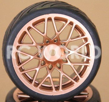 RC 1/10 CAR TIRES WHEELS RIMS PACKAGE SEMI- SLICKS KYOSHO TAMIYA HPI GOLD #2