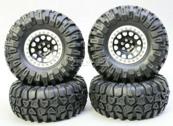1/10 Truck Wheels 2.2  Aluminum RIMS V2 Beadlock  W/ 130mm TIRES Black/Silver