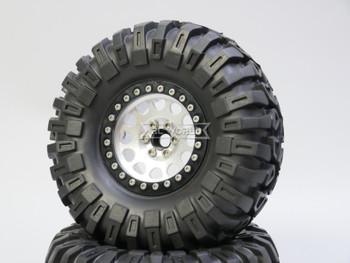 1/10 Truck Wheels 2.2  Aluminum RIMS V2 Beadlock  W/ 130mm TIRES Silver/Black