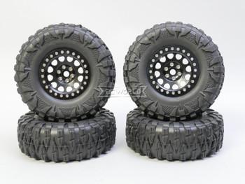 1/10 Truck Wheels 2.2  Aluminum RIMS V2 Beadlock  W/ 120mm TIRES Black/Black