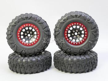1/10 Truck Wheels 2.2  Aluminum RIMS V2 Beadlock  W/ 120mm TIRES Black/Red