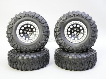 1/10 Truck Wheels 2.2  Aluminum RIMS V2 Beadlock  W/ 120mm TIRES Black/Silver