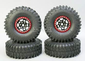 1/10 Metal Truck Wheels 1.9 Beadlock Rims G1 W/ 120MM Swamper Tires  BLACK/RED
