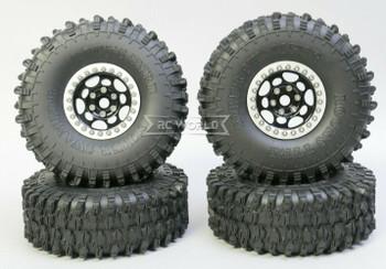 1/10 Metal Truck Wheels 1.9 Beadlock Rims G1 W/ 120MM Swamper Tires  BLACK/SILVER