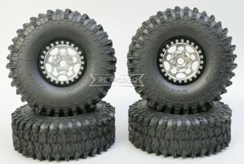 1/10 Metal Truck Wheels 1.9 Beadlock Rims G1 W/ 120MM Swamper Tires  SILVER/BLACK