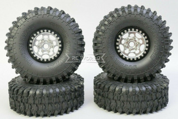 1/10 Metal Truck Wheels 1.9 Beadlock Rims G1 W/ 120MM Swamper Tires  GUN/BLACK