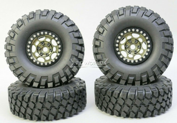 1/10 Metal Truck Wheels 1.9 Beadlock Rims G1 W/ 115MM Off-Road Tires GUN/BLACK