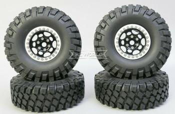 1/10 Metal Truck Wheels 1.9 Beadlock Rims G1 W/ 115MM Off-Road Tires  BLACK/SILVER