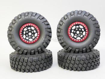 1/10 Metal Truck Wheels 1.9 Beadlock Rims G1 W/ 115MM Off-Road Tires  BLACK/RED