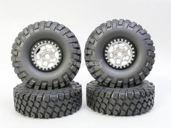 1/10 Metal Truck Wheels 1.9 Beadlock Rims G1 W/ 115MM Off-Road Tires  SILVER/BLACK
