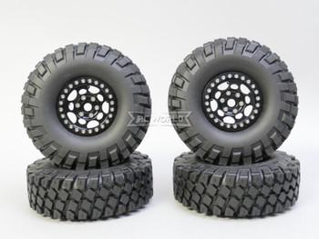 1/10 Metal Truck Wheels 1.9 Beadlock Rims G1 W/ 115MM Off-Road Tires  BLACK/BLACK
