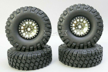 1/10 Metal Truck Wheels 1.9 Beadlock Rims V2 W/ 115MM Off-Road Tires GUN/BLACK