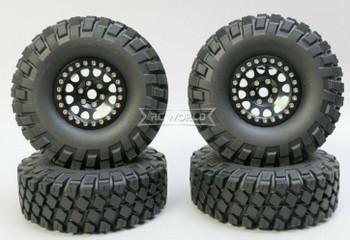 1/10 Metal Truck Wheels 1.9 Beadlock Rims V2 W/ 115MM Off-Road Tires  BLACK/BLACK