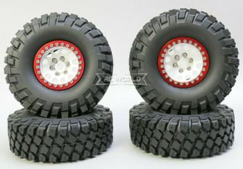 1/10 Metal Truck Wheels 1.9 Beadlock Rims V2 W/ 115MM Off-Road Tires  SILVER/RED
