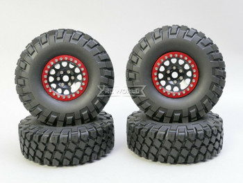 1/10 Metal Truck Wheels 1.9 Beadlock Rims V2 W/ 115MM Off-Road Tires  BLACK/RED
