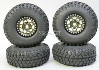 1/10 Metal Truck Wheels 1.9 Beadlock Rims G1 GUN + BLACK 115mm Grabber Tire