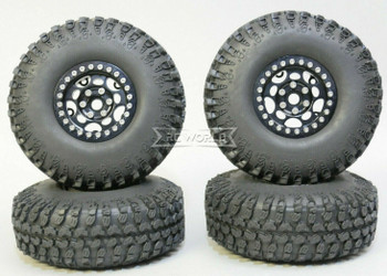 1/10 Metal Truck Wheels 1.9 Beadlock Rims G1 W/ 115mm Grabber Tire  BLACK + BLACK