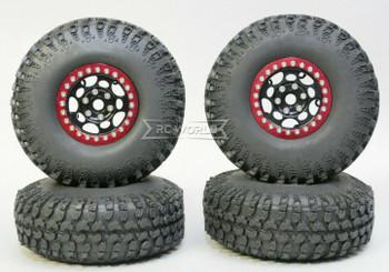 1/10 Metal Truck Wheels 1.9 Beadlock Rims G1 W/ 115mm Grabber Tire  BLACK + RED