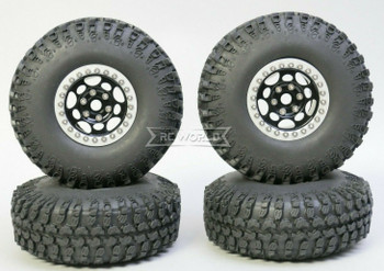 1/10 Metal Truck Wheels 1.9 Beadlock Rims G1 W/ 115mm Grabber Tire  BLACK + SILVER