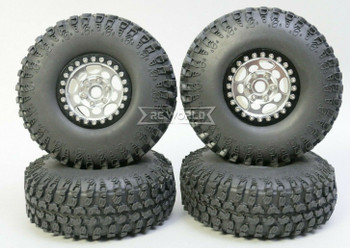 1/10 Metal Truck Wheels 1.9 Beadlock Rims G1 W/ 115mm Grabber Tire  SILVER + BLACK