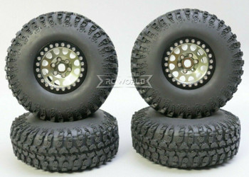 1/10 Metal Truck Wheels 1.9 Beadlock Rims V2 W/ 115mm Grabber Tire GUN + BLACK