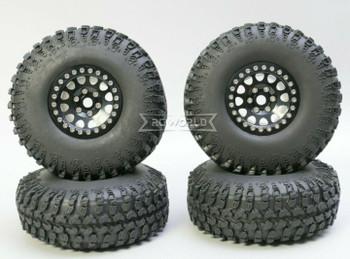 1/10 Metal Truck Wheels 1.9 Beadlock Rims V2 W/ 115mm Grabber Tire  BLACK + BLACK