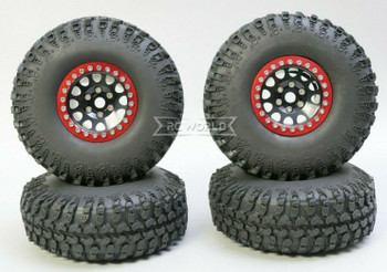 1/10 Metal Truck Wheels 1.9 Beadlock Rims V2 W/ 115mm Grabber Tire  BLACK + RED