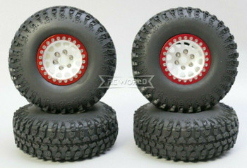1/10 Metal Truck Wheels 1.9 Beadlock Rims V2 W/ 115mm Grabber Tire  SILVER + RED