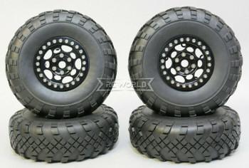 1/10 Metal Truck Wheels 1.9 Beadlock Rims G1 W/ 110mm Street Tire  BLACK + BLACK