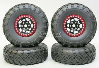 1/10 Metal Truck Wheels 1.9 Beadlock Rims G1 W/ 110mm Street Tire  BLACK + RED
