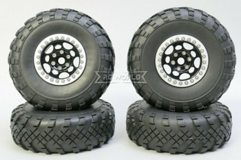 1/10 Metal Truck Wheels 1.9 Beadlock Rims G1 W/ 110mm Street Tire  BLACK + SILVER