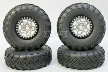 1/10 Metal Truck Wheels 1.9 Beadlock Rims G1 W/ 110mm Street Tire SILVER  + BLACK